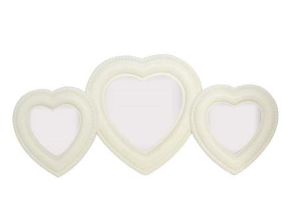 Cream Wood Heart Trio Picture Frame