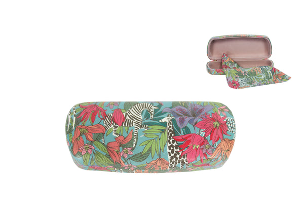 Blue PU Printed Safari Glasses Hard Case - 16x3x6cm