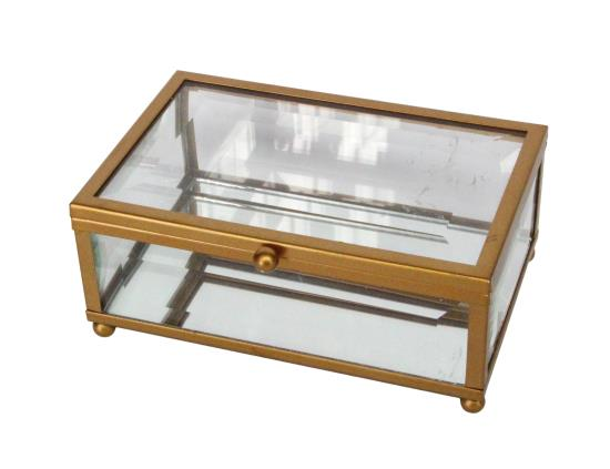 Copper Frame Glass Keepsake Box, Sml - 14x5.5x9cm