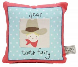 Multi-Colour Fabric Cowboy & Indian Tooth Fairy Cushion 16x16cm - NOW 50% OFF
