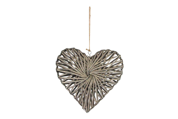 Grey Woven Willow Extra Large Heart Decoration