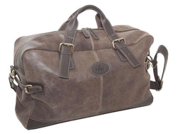 Rowallan Blue Leather Holdall Overnight Bag