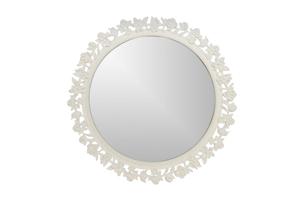 Cream Metal Floral Round Table Mirror 24cm
