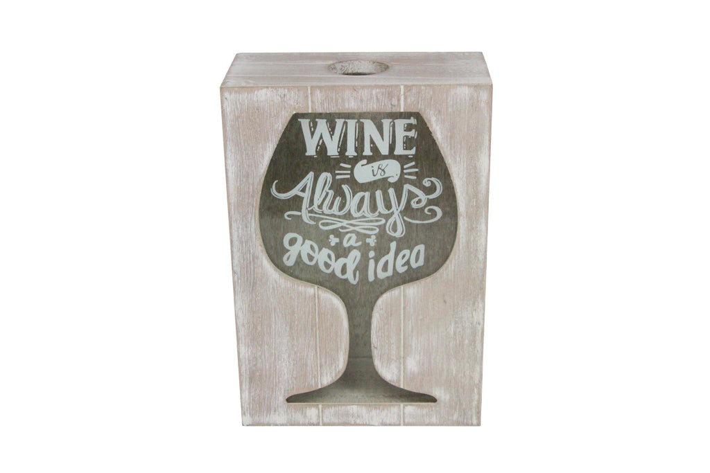 White Wash natural Wood 'Wine Always A Good Idea' Cork Collector