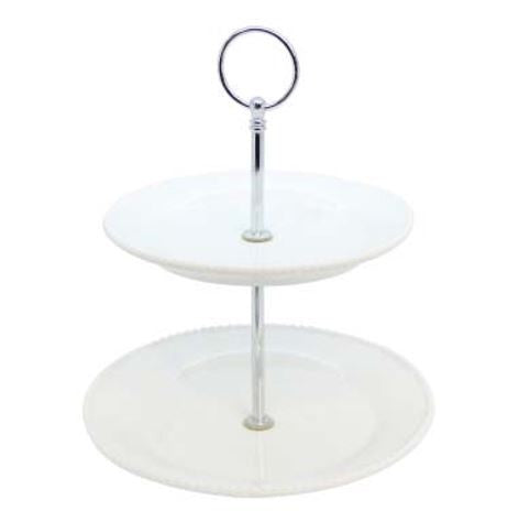 White Ceramic Beaded 2-Tier Cake Stand