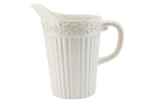 White Ceramic Rustic Flowers Ribbed Pitcher Jug