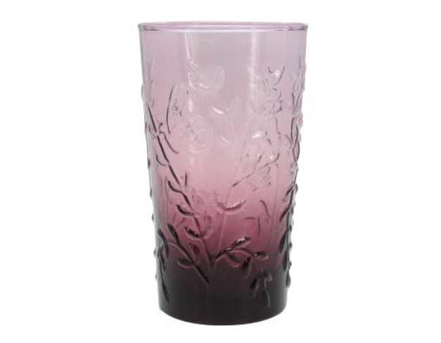 Plum Embossed Flora Fauna Tall Glass