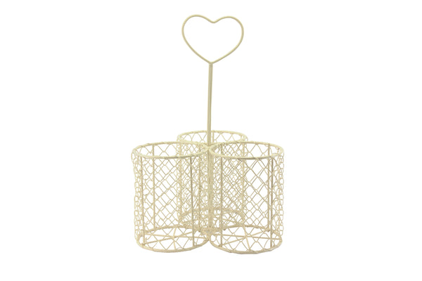 Cream Metal Wire Trio Bottle Caddy with Heart