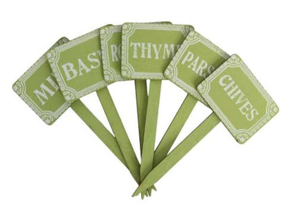 Green Wood Herb Print Mini Stakes