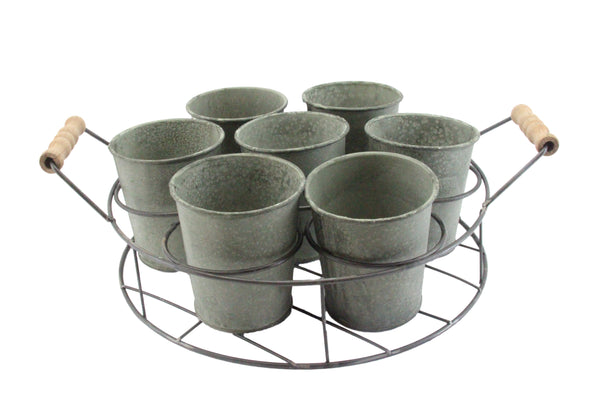Set of 7 Green Verdigree Metal Tin Pots In Round Wire Trug