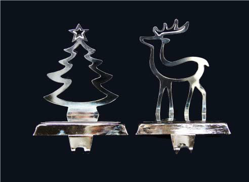 Nickel Plated Tree/Deer Stocking Hanger