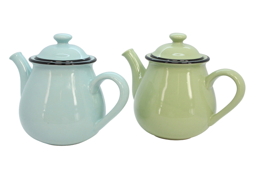 Green and Blue Ceramic Small Teapot