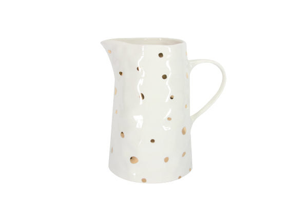 Gold Foil Dot White Ceramic Jug - Medium
