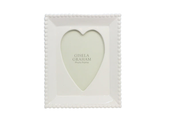 White Ceramic Beaded Edge Heart Picture Frame 17cm