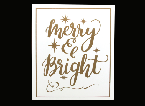 Gold/White Wood 'Merry and Bright' Plaque