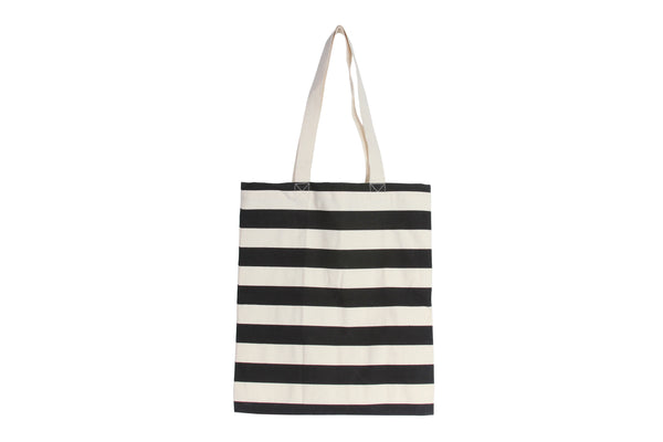 Black Cotton Canvas Stripe Book / Tote Bag