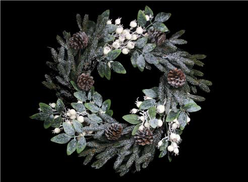 Green Fir/Leaf Wreath with White Berries