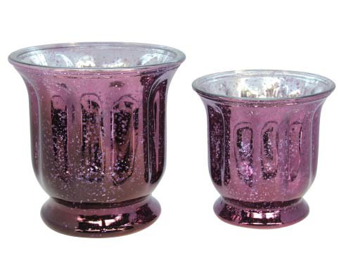 Purple Lustre Glass Pot Cover - Small & Large
