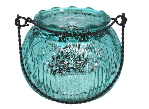 Aqua Lustre Glass Artichoke Tea Light Holder