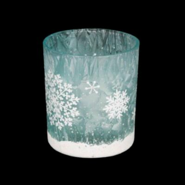 Blue Damask Glass Night light candle holder snowflake