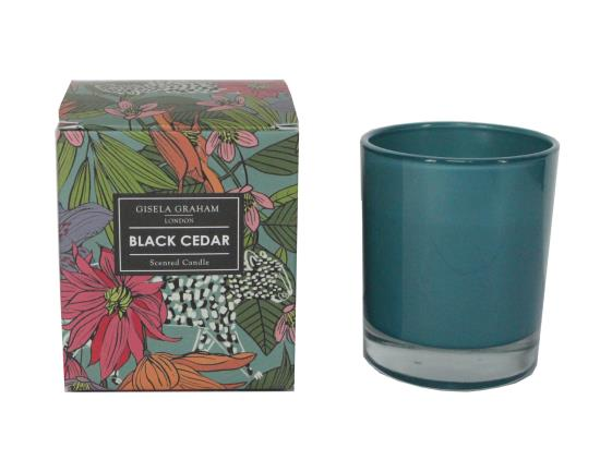 Safari Black Cedar Scented Candle Pot - 8.5x9.5x8.5cm
