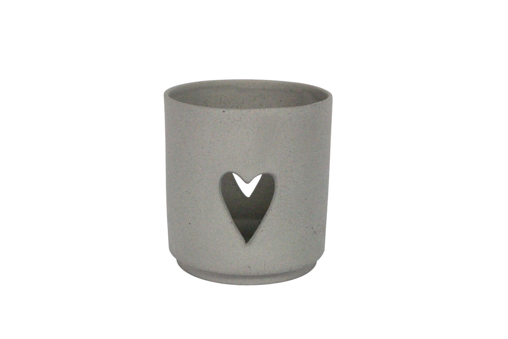 Matt Grey Porcelain Cut Out Heart T-Lite Holder