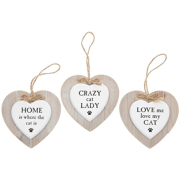 Wooden Heart Cat Pet Signs - Various