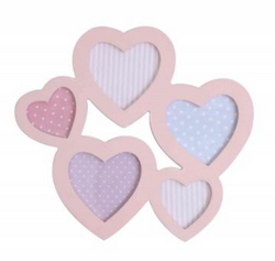Pink Wood Heart Collage Wall Picture Frame 31x27.5cm