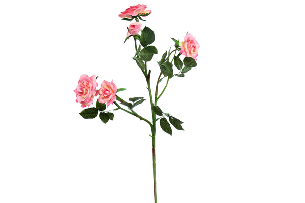 Faux Pink Miniature Rose Spray 70cm