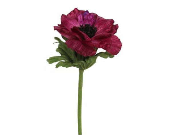 Dark Pink Anemone Stem Fake / Faux Flower