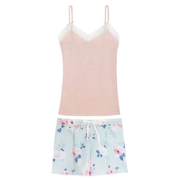 Cath Kidston Paper Rose Scattered Vest & Shorts Pyjama Set