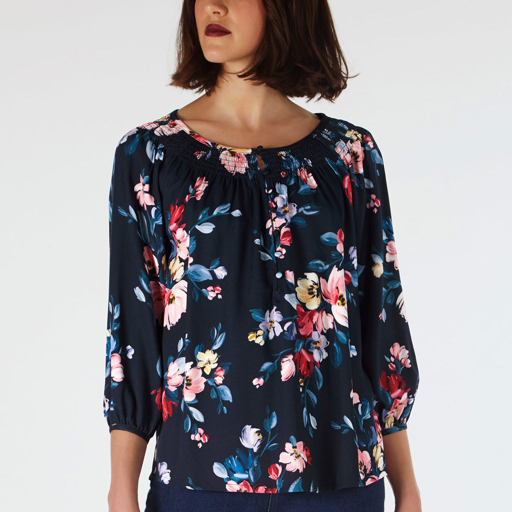 Cath Kidston Paintbox Flower Top With Shredded Neckline | Wysteria Lane