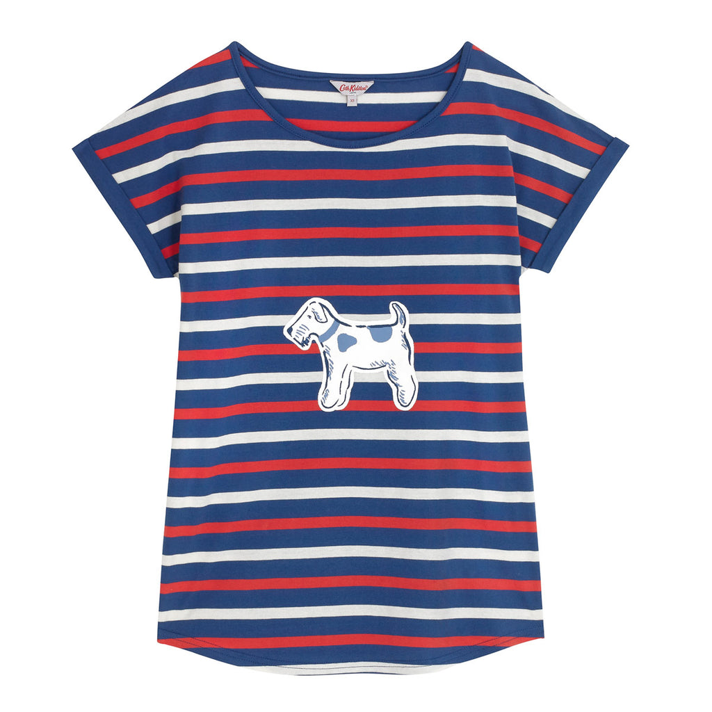 Cath Kidston Squiggle Dog Turn Up Sleeve Top