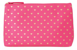 Bisous Gold Hearts Wash Bags