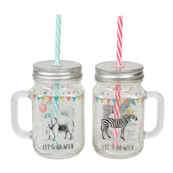 Party Animals Mason Drinking Jar With Straw - Zebra / Elephant