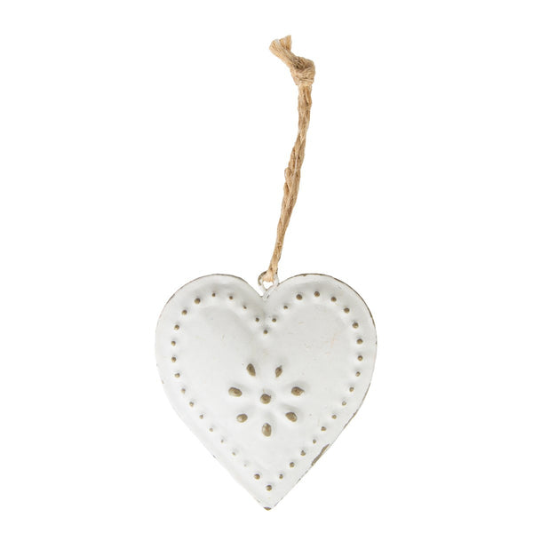 Vintage White Hanging Heart Decoration