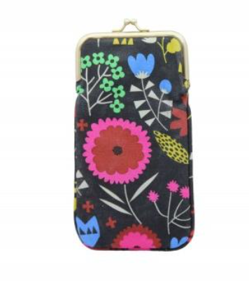 Multi-Colour Fabric Floral Mix Print Glasses Case 19x10cm