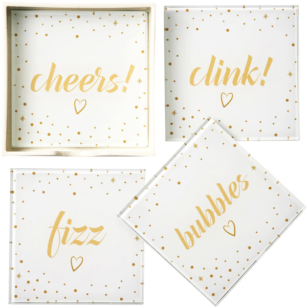 Cheers, Fizz, Clink & Bubbles - Individual or Set of 4 Glass Drinks Coasters