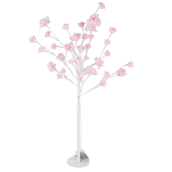 Pink Roses LED Light White Tree Standing Decoration - Large