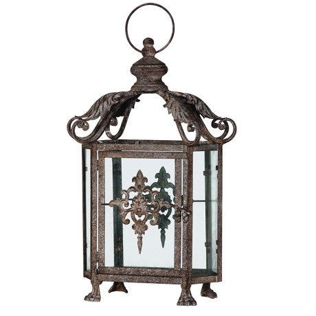 Grey Wash Metal Ornate Lantern | Wysteria Lane Boutique