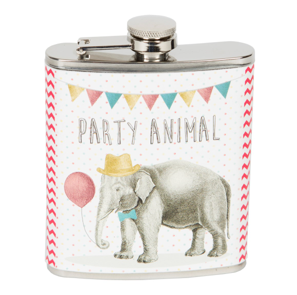 Party Elephant Hip Flask