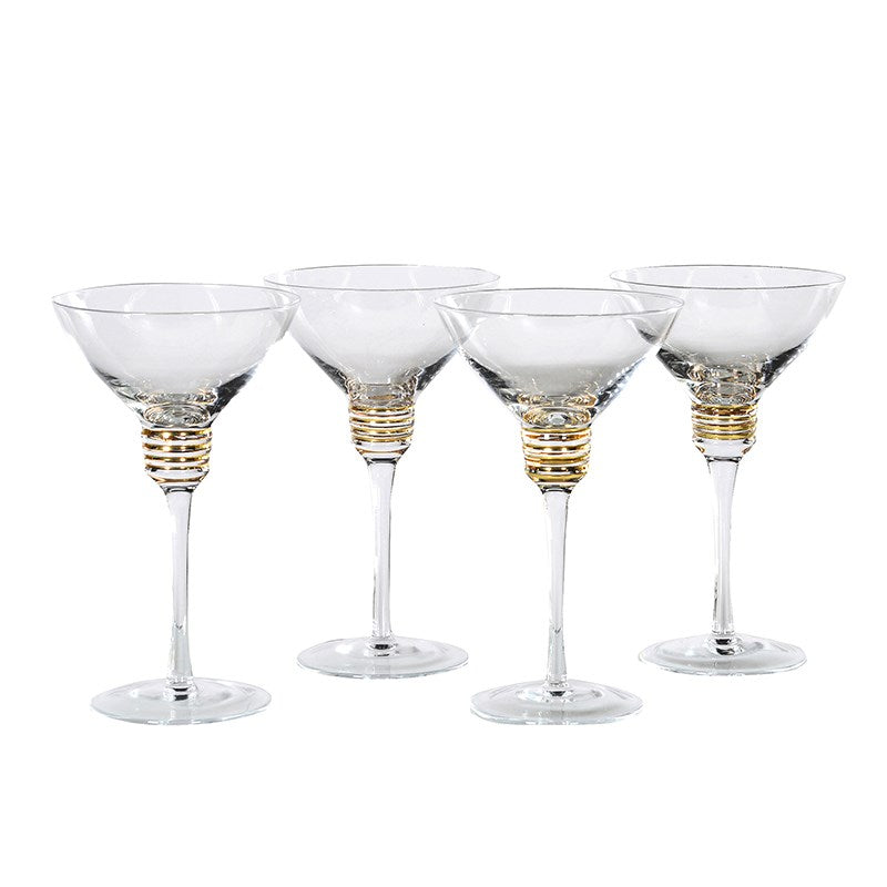 Gold Spiral Martini Glass | Wysteria Lane Boutique
