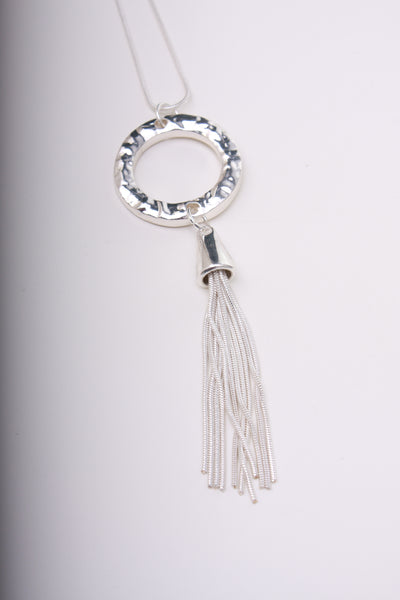 Silver Tassle and Hoop Long Chain Necklace