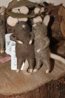 Two Felt Mice Under Leaf - NOW 50% OFF