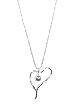 Silver Heart and Ball Long Chain Necklace