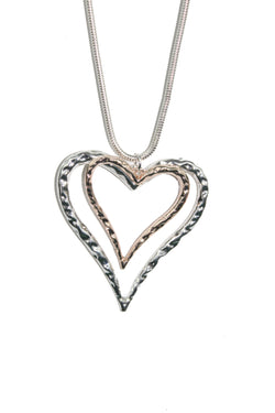 Crushed Metal Double Heart Single Chain Necklace