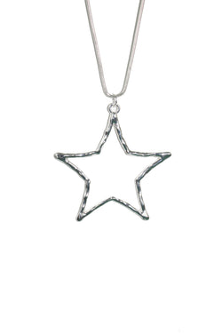 Silver Star Long Chain Statement Necklace