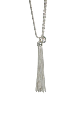 Silver Olia Long Tassle Double Chain Necklace - Silver / Rose Gold