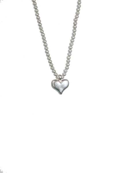 Long Brushed Silver Beaded Heart Necklace