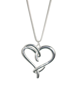 Silver Knotted Heart Long Chain Necklace